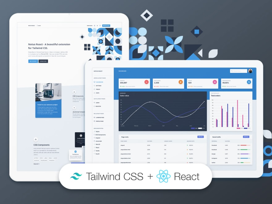 Tailwind CSS React Dashboard - Free starter provided by Creative-Tim.