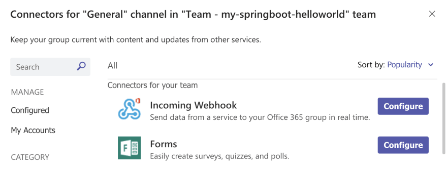 Teams: incoming webhook