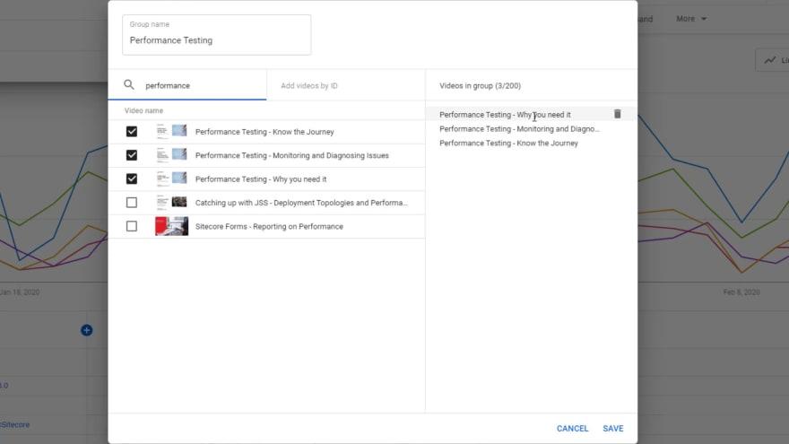 Screenshot of selected videos