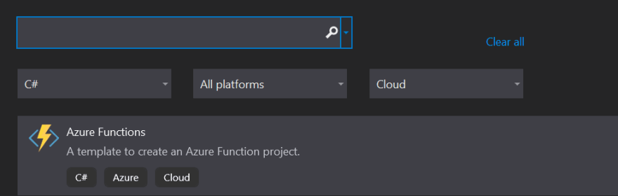 Azure Function template in Visual Studio