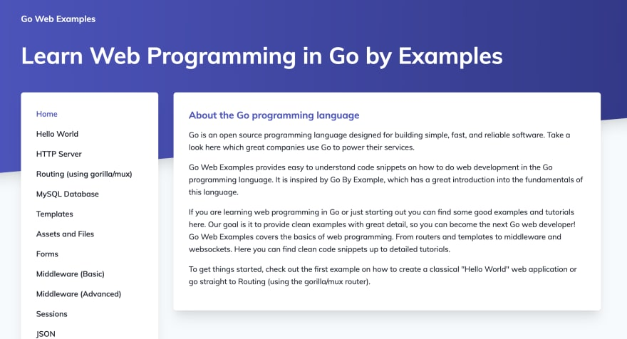 The Go Web Examples blog