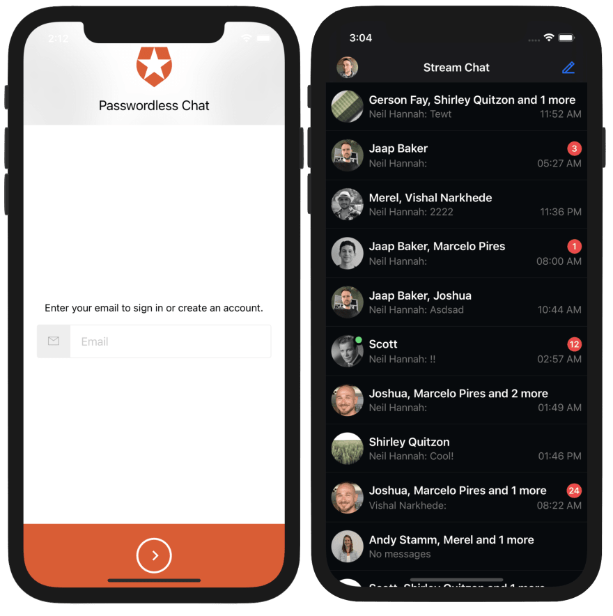 Image shows a passwordless login screen and a screen with chat channels