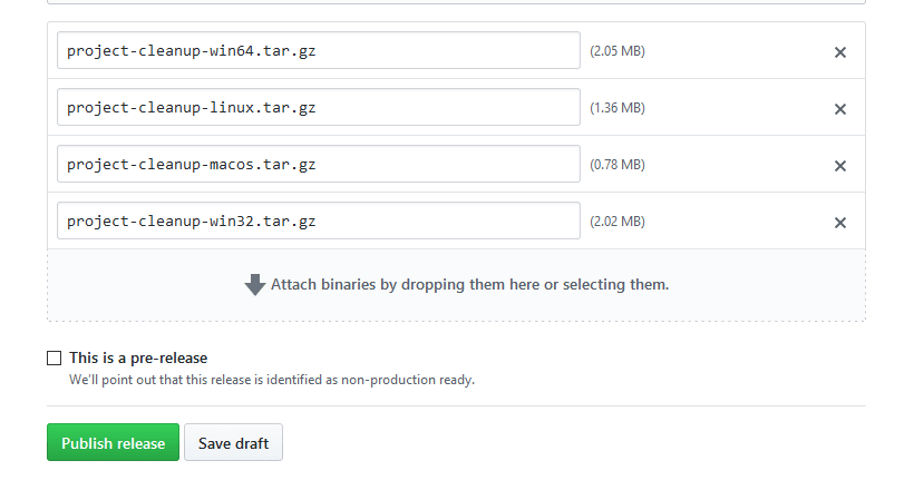 Screenshot of attached binaries in the Github release editor