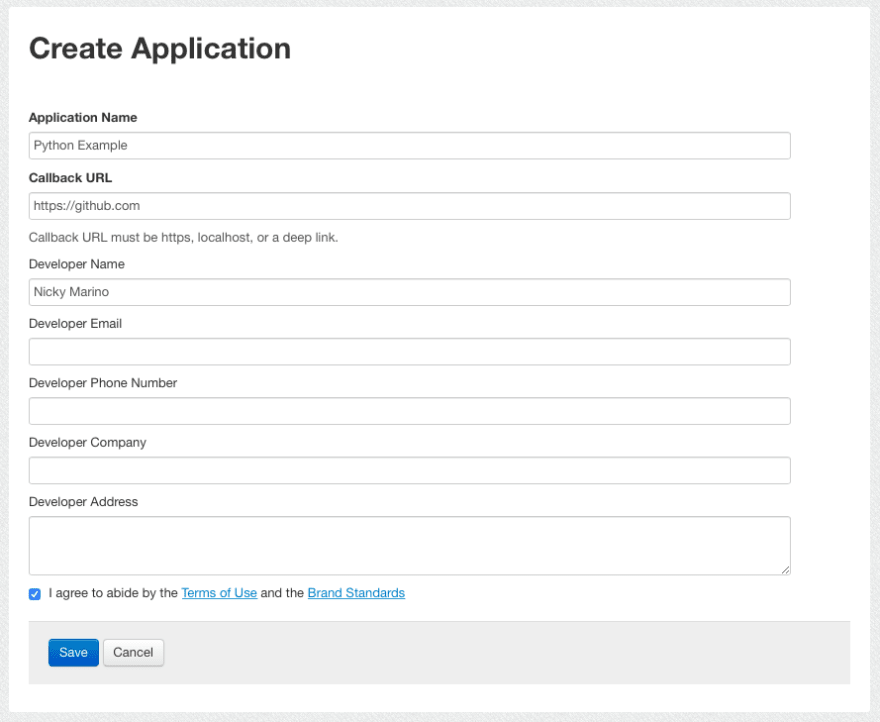 Create Application Page