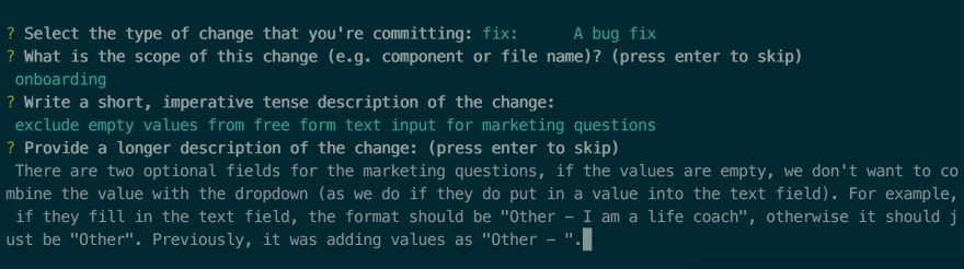 an example of a commit with a message subject and longer description