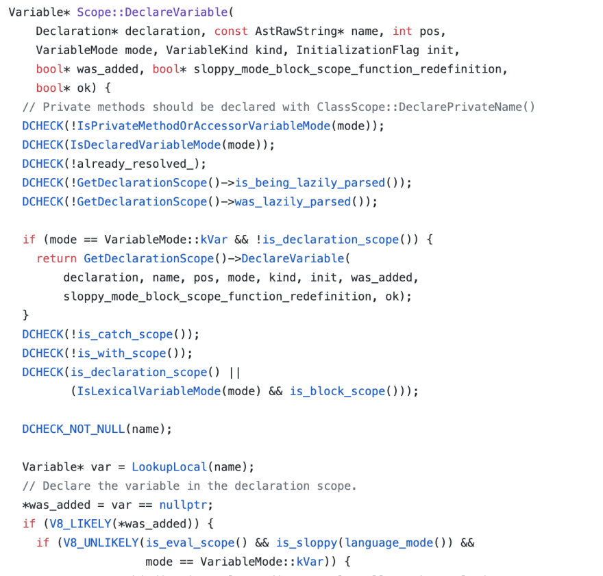 Declare Variable Source Code