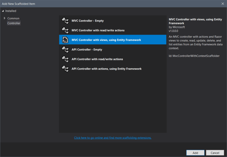 Add New Scaffolded Item with MVC Controller with views, using Entity Framework selected