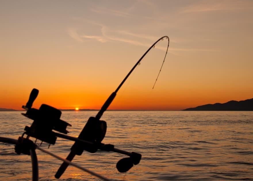 Fishing in the sea photo