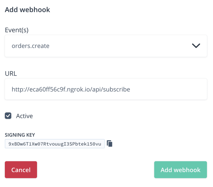 Add Chec webhook