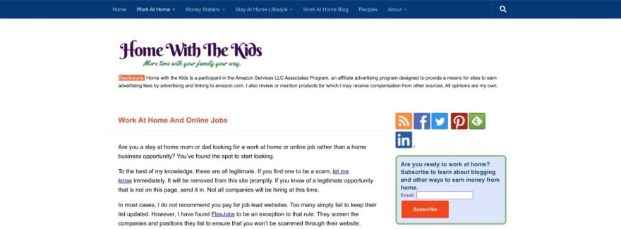 Home With The Kids website