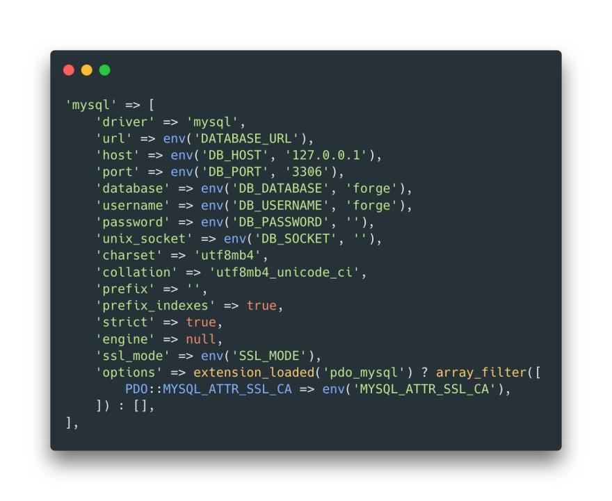 Final MySQL config in Laravel