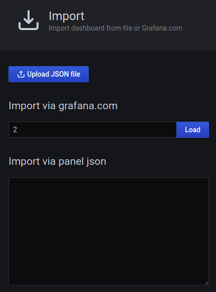 Grafana dashboard import