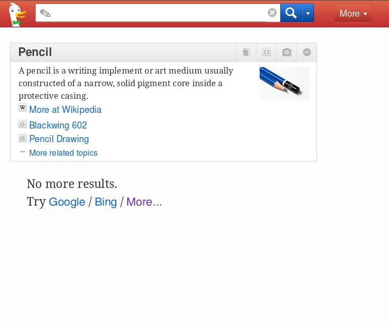 pencil search on duckduckgo