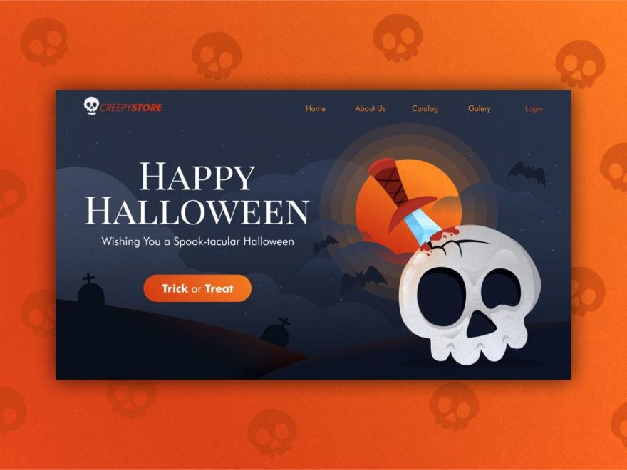 happy halloween pumpkin modal card in orange with skull pattern behind modal
