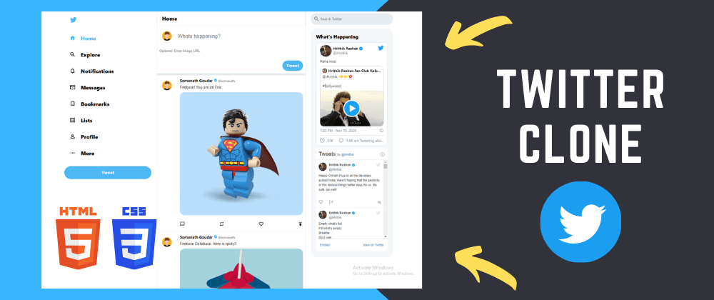 Cover image for 🔴 Build Twitter Clone using HTML and CSS - Tutorial