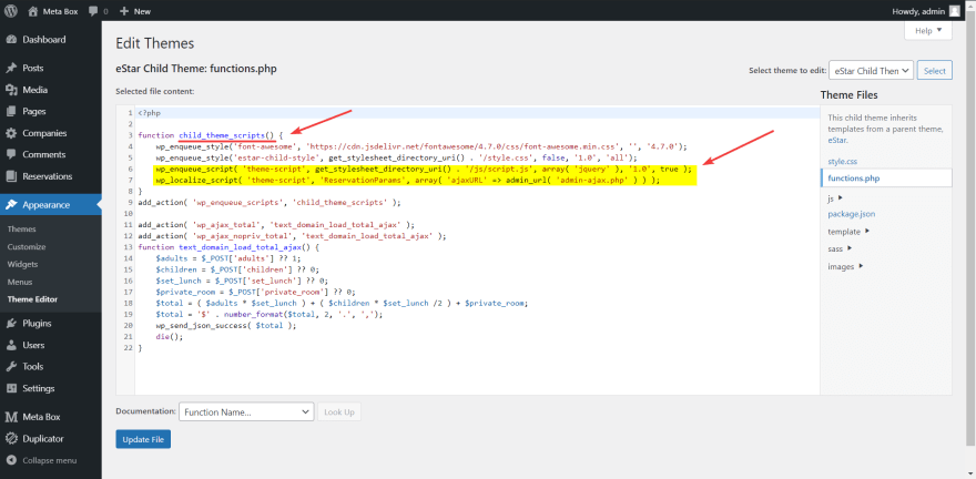enqueue the JS file and URL of the AJAX in the functions file to enable them