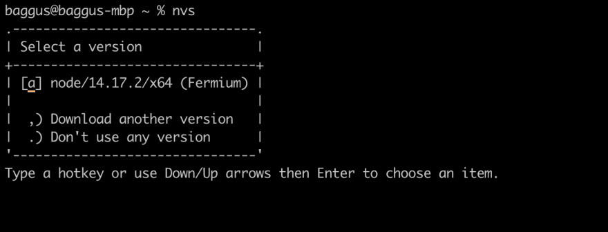 Interactive menus when Node JS is installed