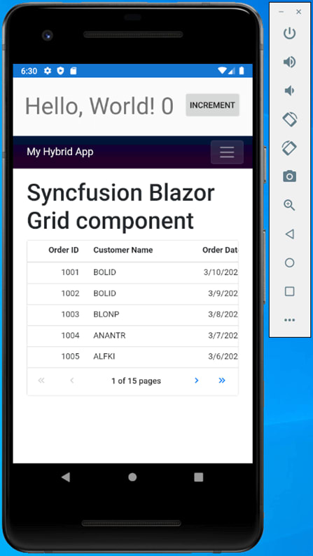 Syncfusion Blazor Grid rendered on android mobile