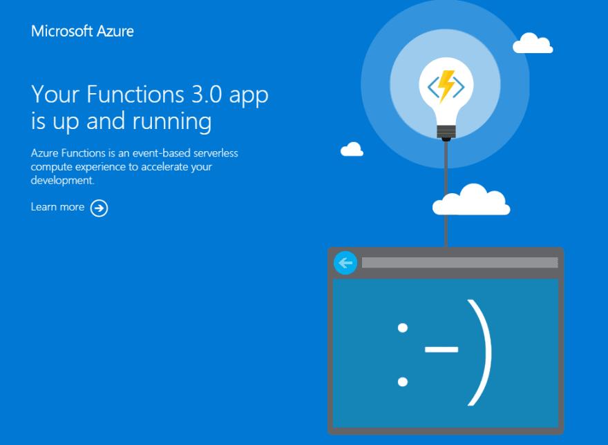 Azure Function App Landing Screen
