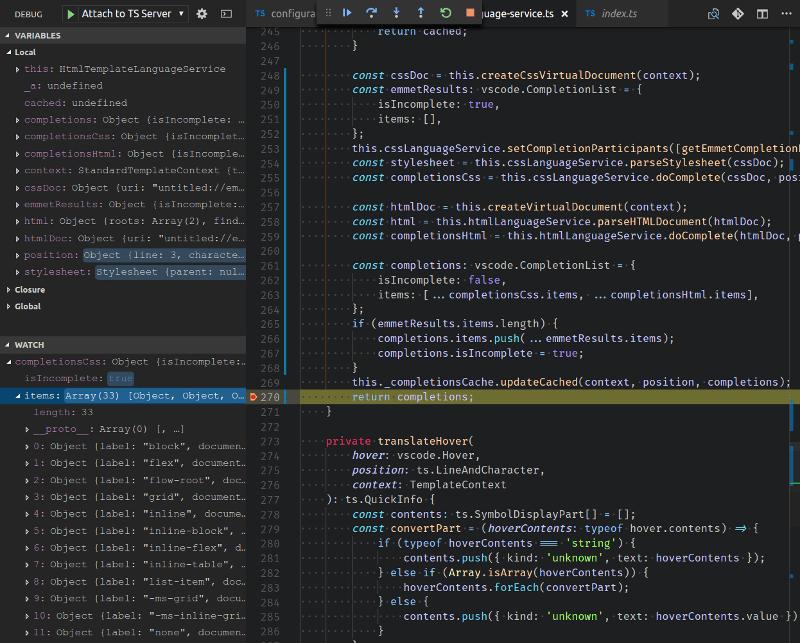Sample of debugging a language service plugin in VS Code