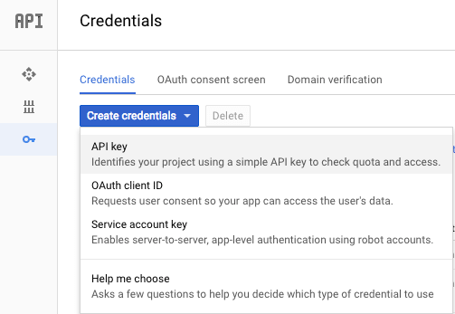 Create credentials for Google project