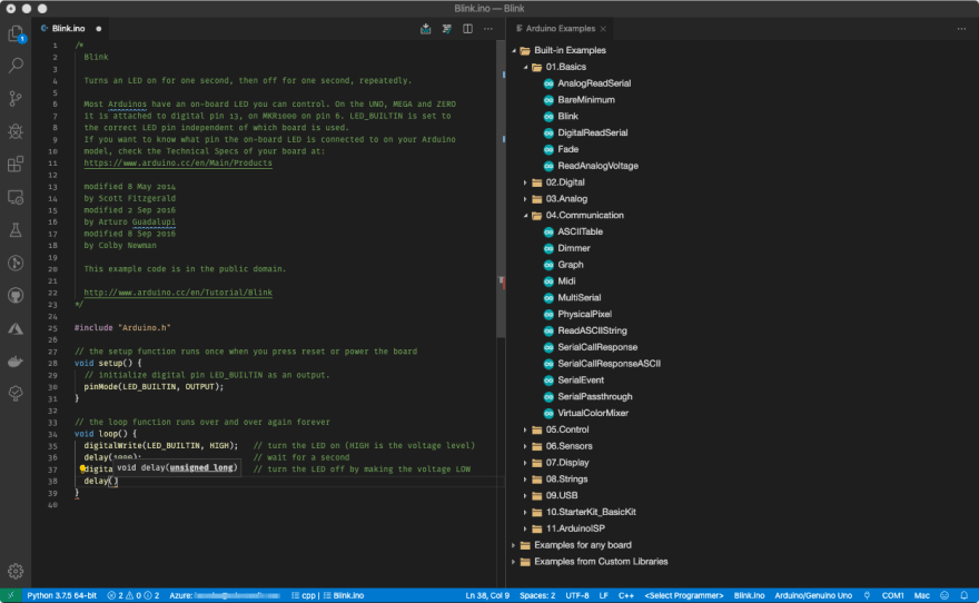 The VS Code extension for Arduino in action.
