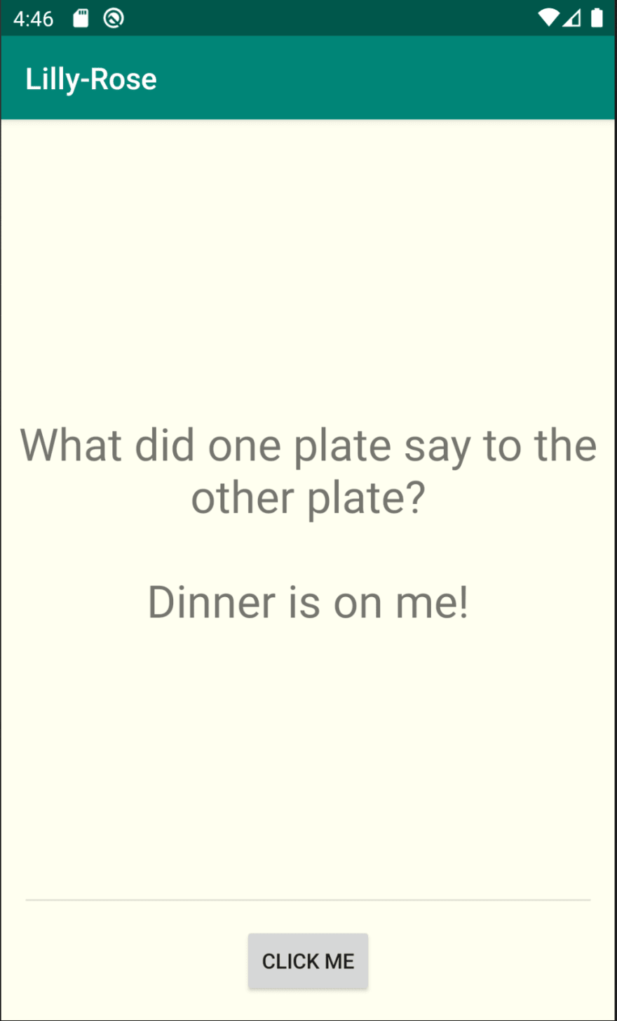 "The application now reads ""What did one plate say to the other plate? Dinner is on me!"""