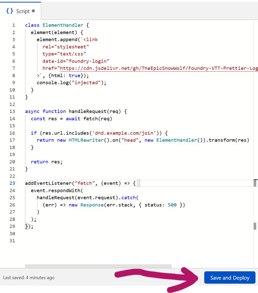 Script plus Save and Deploy Button