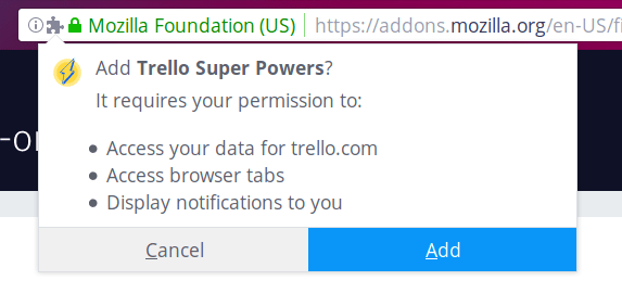 Permissions popup on install