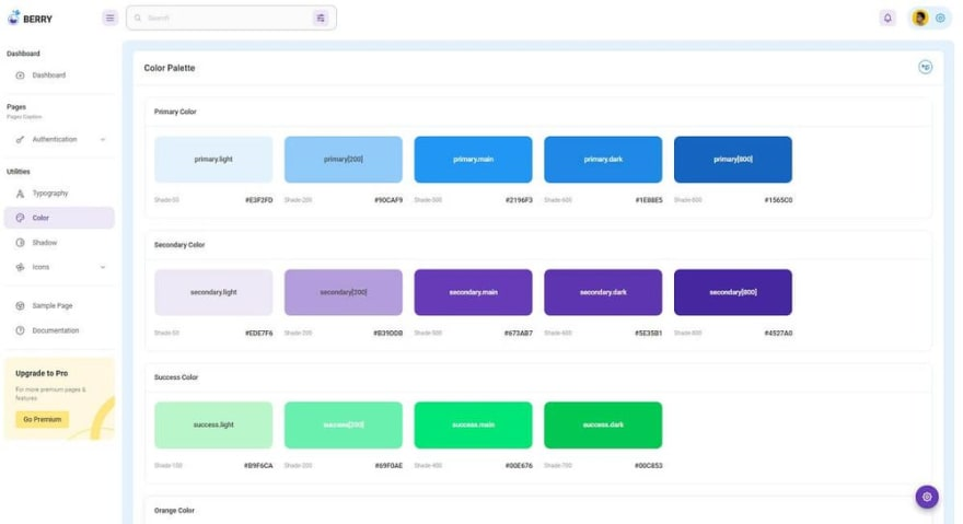 Berry Dashboard - Colors Page.