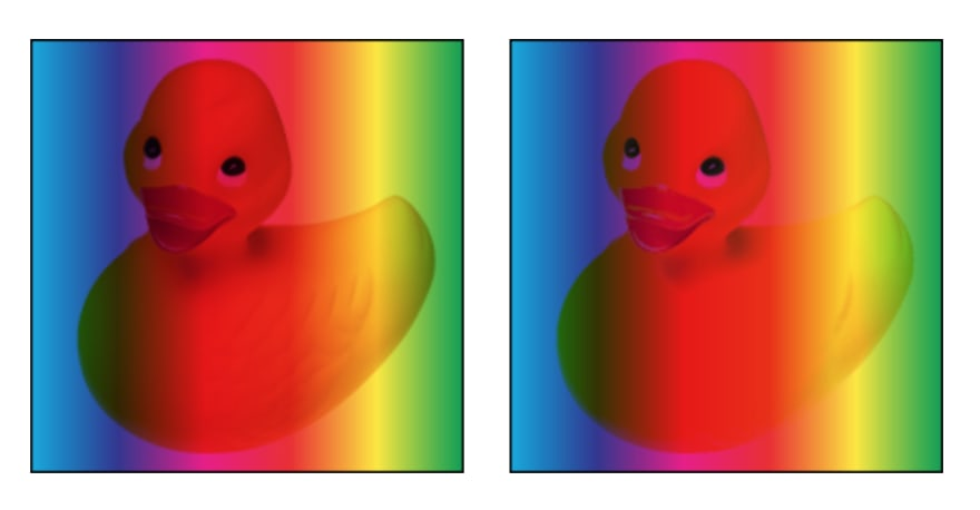 Side by side comparison of multiply (left) and darken (right). Notice how some of the textures of the duck is lost due to the pixels getting replaced by the result of a non-linear operation.