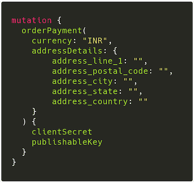 GraphQL mutation for order placement
