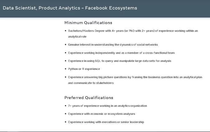 Data Scientist, Product Analytics - Facebook Ecosystems