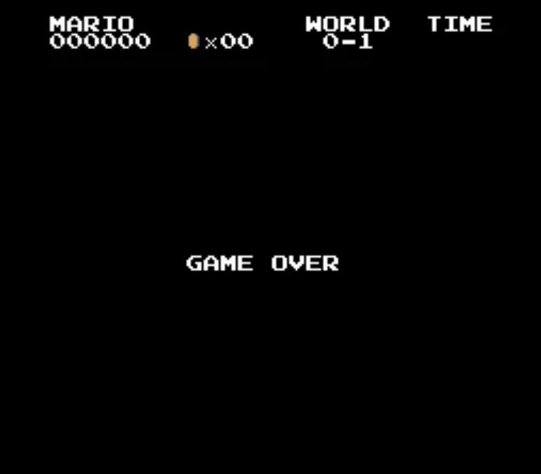 Mario Game Over Screen