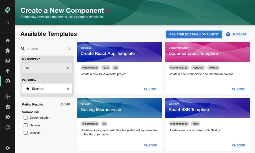 a list of templates inside backstage: Create React App Template, Docs template, Golang template etc.