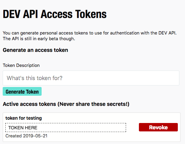 generated DEV API access token