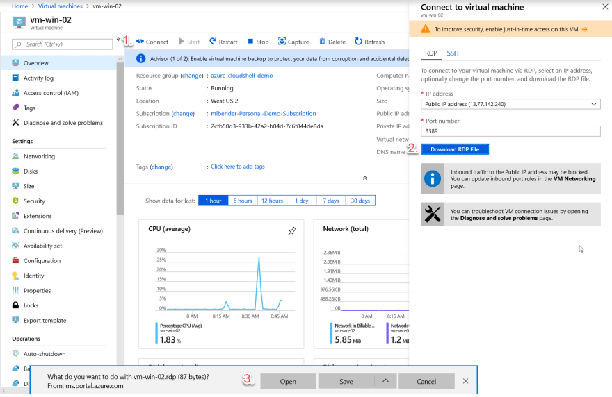 Connect to Windows VM in Azure Portal