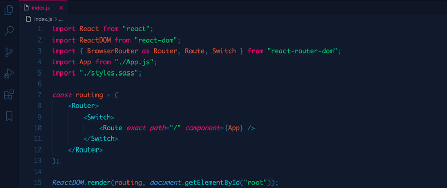 React code snippet with the Bearded - Surprising Blueberry theme