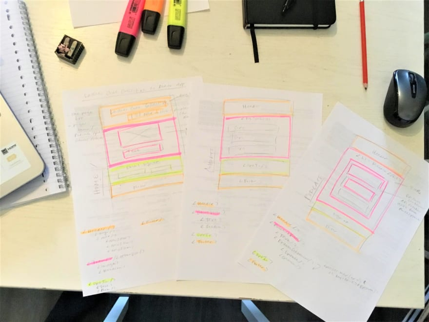 Sketches of React components on paper