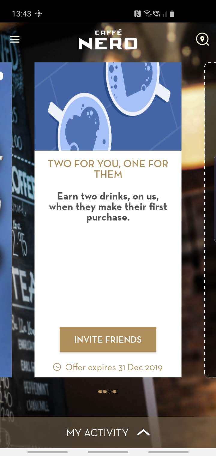 A screenshot of the old Caffe Nero app