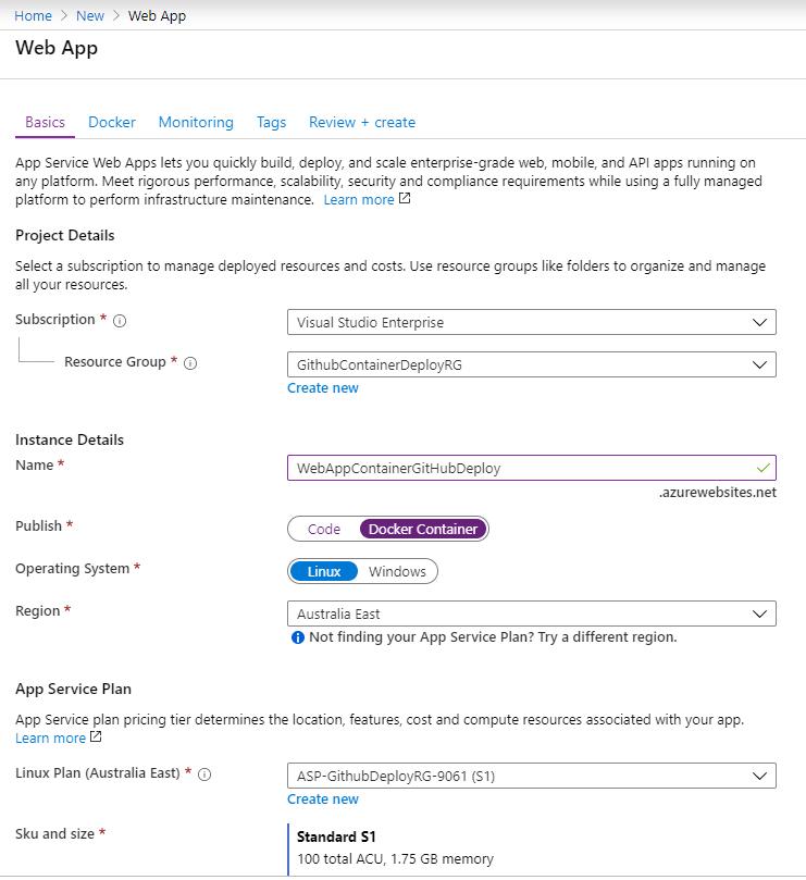 Creating Azure Web app