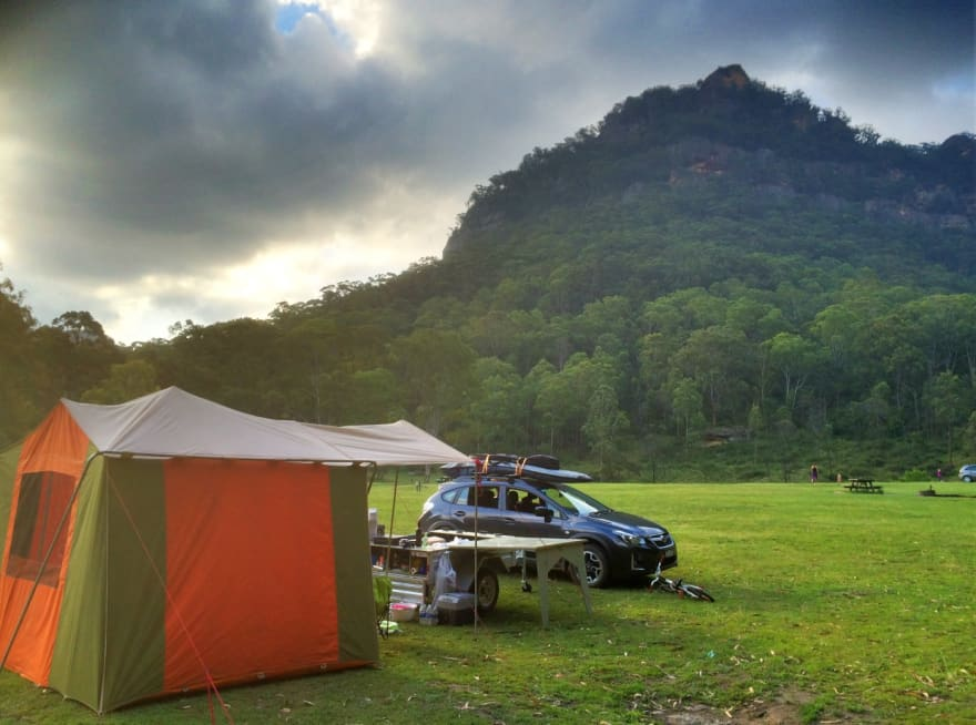 Camping setup (tent and car in the nature) in Newnes in the Blue Mountains, my remote office for a few days