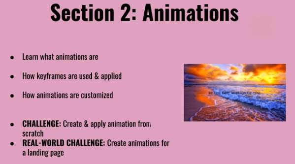 Overview of animations section