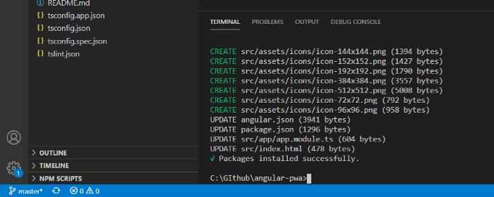Console output after running ng add @angular/pwa