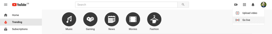 YouTube showing the Go Live button