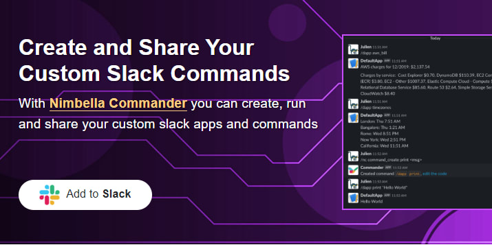 Nimbella Commander app add to slack via direct link
