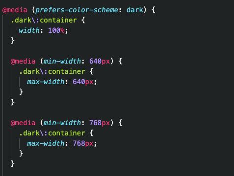 dark tailwind code