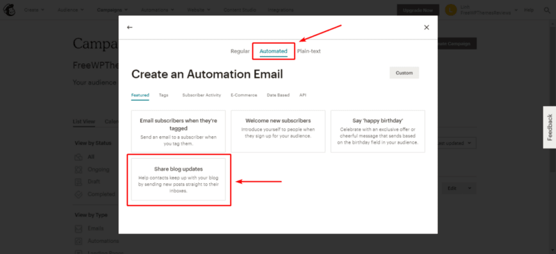 Choose Automate to to send blog posts by email automatically.