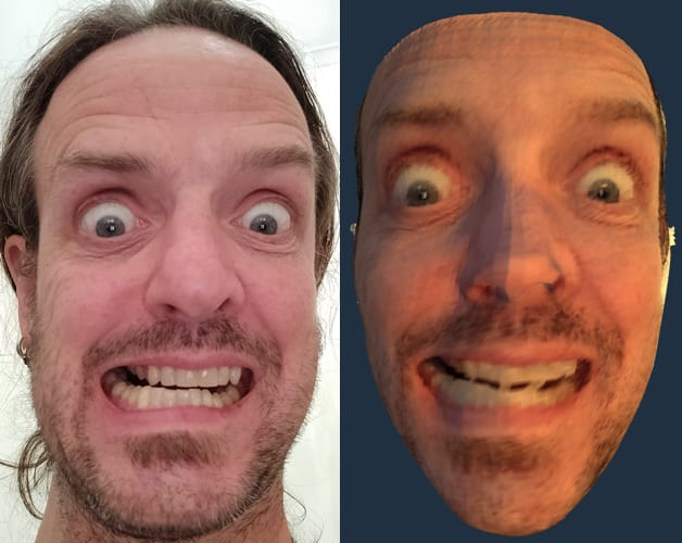 gurning face and 3d model of the same gurning face