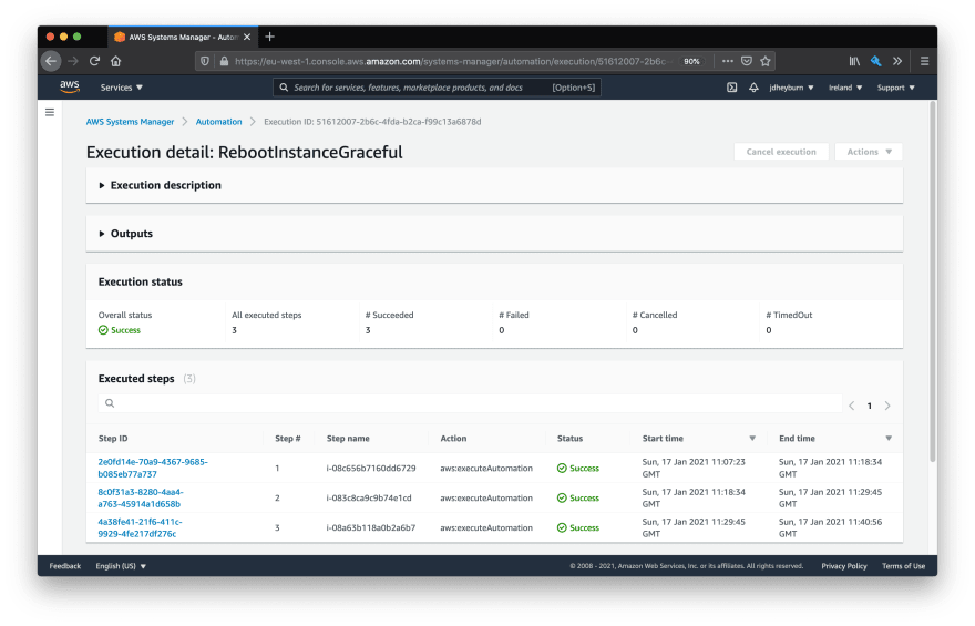 AWS console showing the automation document execution view. There are 3 task invocations, one for each instance in scope - they have all executed successfully and only one invocation was executed at a time.
